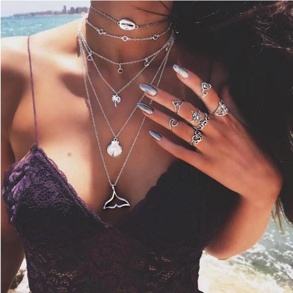 New! Women's Boho Layered Ocean Mermaid Necklace